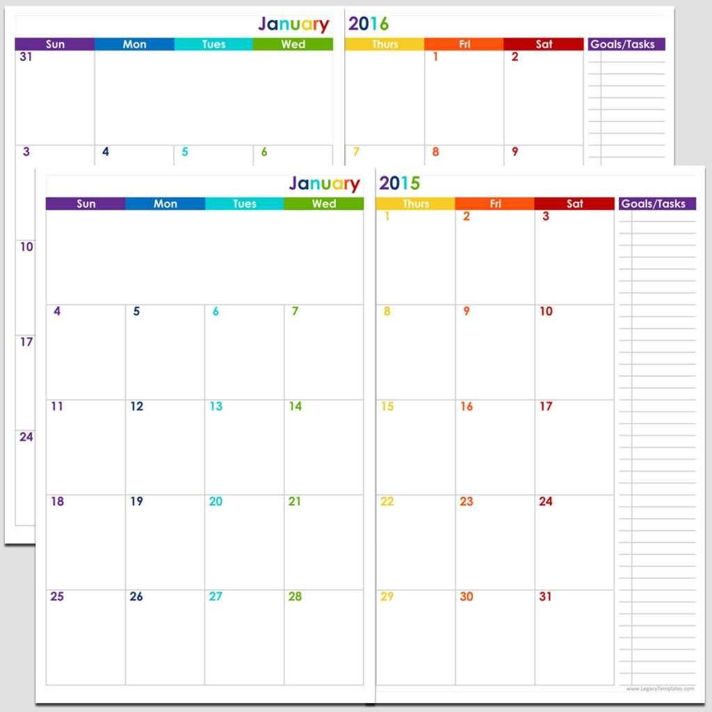 24 months 2 page calendar half size legacy templates for 2 page weekly calendar template