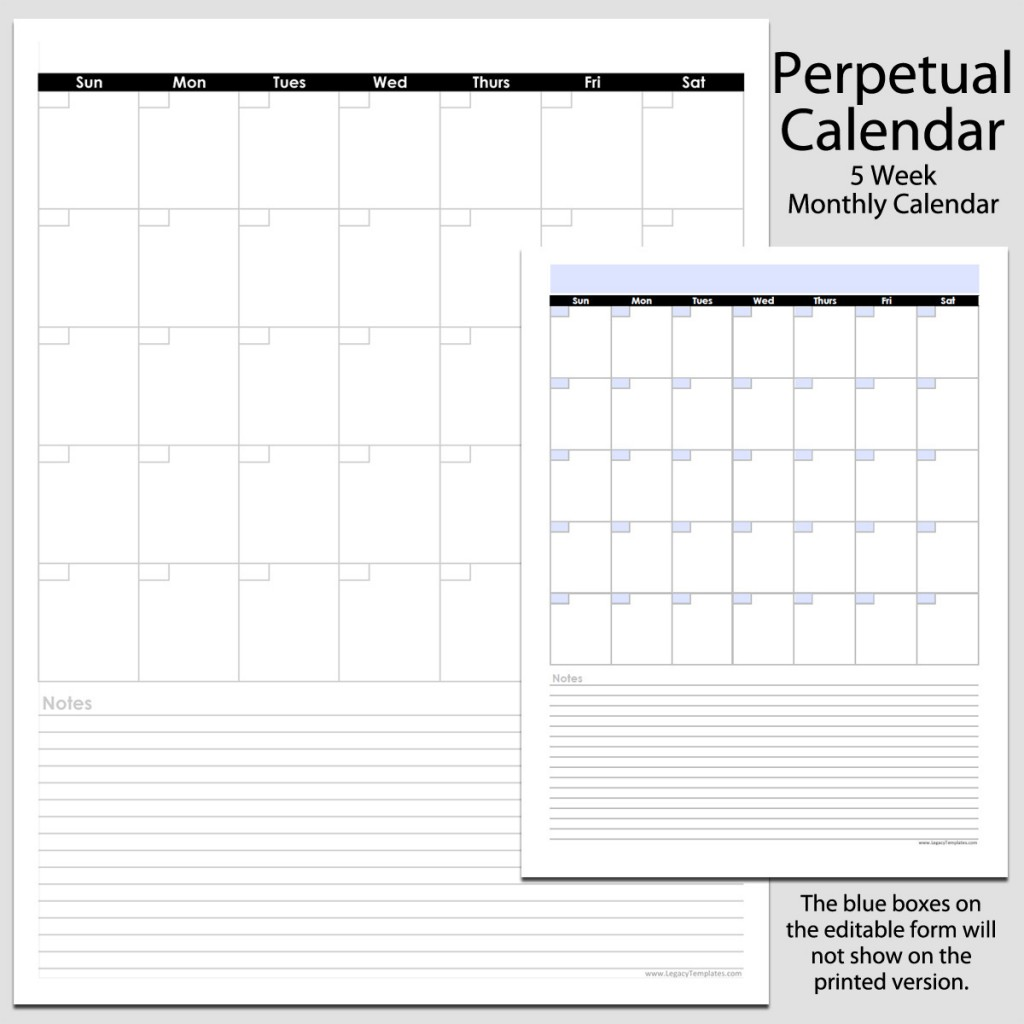 Monthly Calendar With Notes : Monthly perpetual calendar with notes in portrait