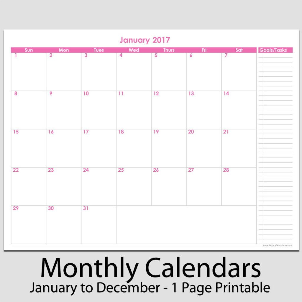 2017 12 Month Calendar With Tasks 8 1 2 X 11 Legacy Templates