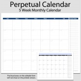 Monthly Perpetual Calendar with Tasks in Landscape – 8 1/2″ x 11″