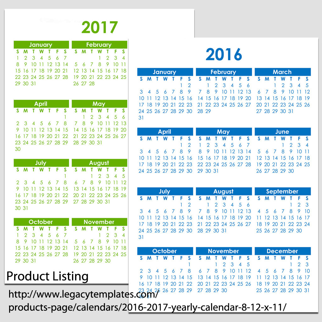 "2016 & 2017 Yearly Calendar - 5 1/2"" x 8 1/2"" 