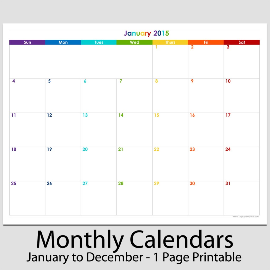... products printable calendar for 2015 the 12 month calendar is in