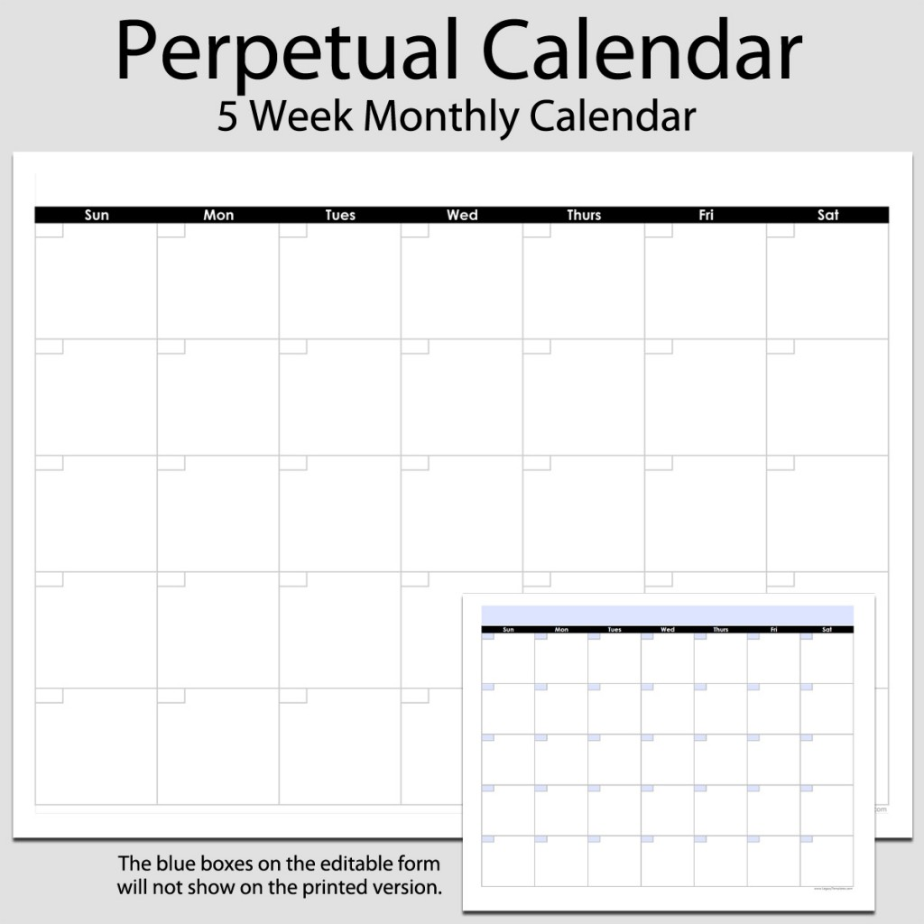 image relating to Printable Perpetual Calendars named Month to month Perpetual Calendar inside of Landscape 8 1/2 x 11