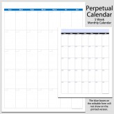 Monthly Perpetual Calendar in Portrait – 8 1/2″ x 11″