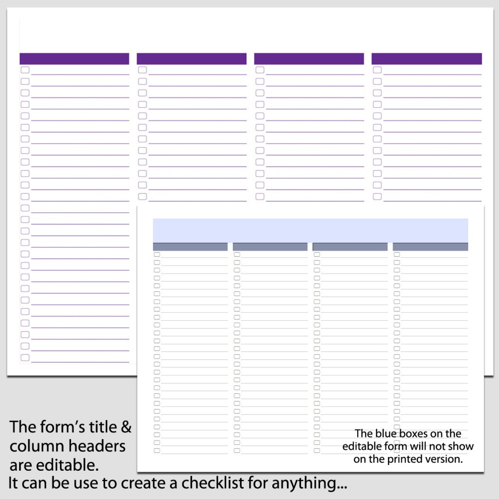 4 Column Checklist In Landscape