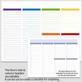 6 Column Checklist in Landscape – 8 1/2″ x 11″ B