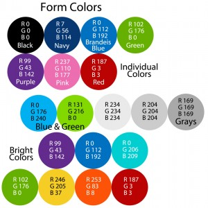 The RGB color codes for the forms.