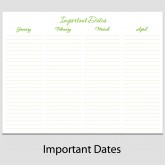 Important Dates in Landscape – 8 1/2″ x 11″ L-4C