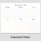 Important Dates in Landscape – 8 1/2″ x 11″ L-6C
