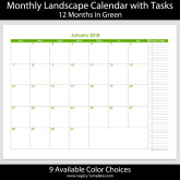2018 – 12 Month Calendar with Tasks – 8.5 x 11