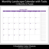 2019 – 12 Month Calendar with Tasks – 8.5 x 11