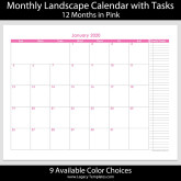 2020 – 12 Month Calendar with Tasks – 8.5 x 11