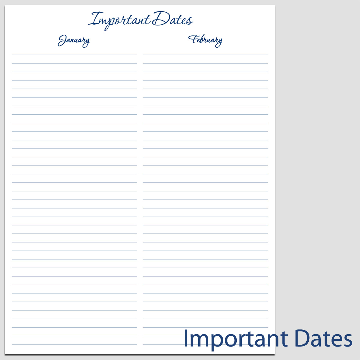 Printable Important Dates In Portrait 4 Forms 8 1 2 X
