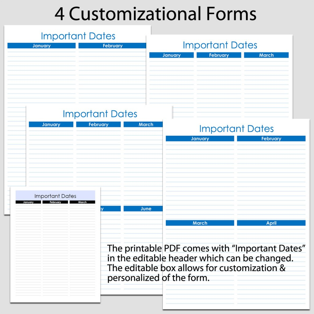"""Printable Important Dates in Portrait - 4 forms - 8 1/2"""" x ..."""