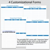 Important Dates in Portrait – 4 forms – 8 1/2″ x 11″ B