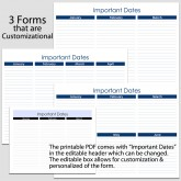 Important Dates in Landscape – 3 forms – 8 1/2″ x 11″ B