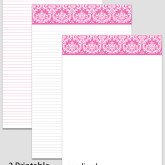 Printable Stationary Paper with a Damask Pattern P0104 – 5.5″x8.5″