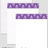 Printable Stationary Paper with a Damask Pattern P0113 – 8.5″x11″