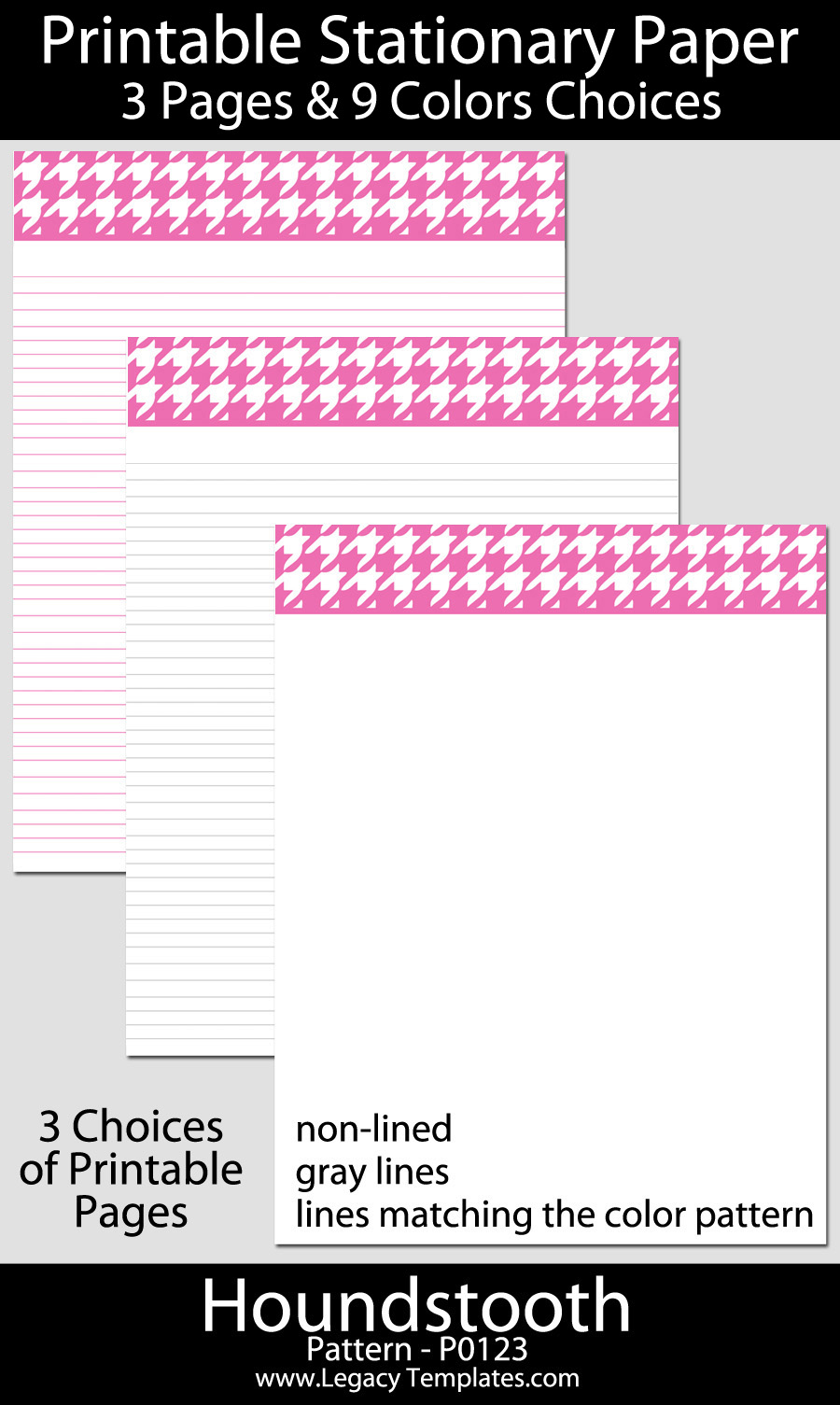 printable stationary paper with a houndstooth pattern