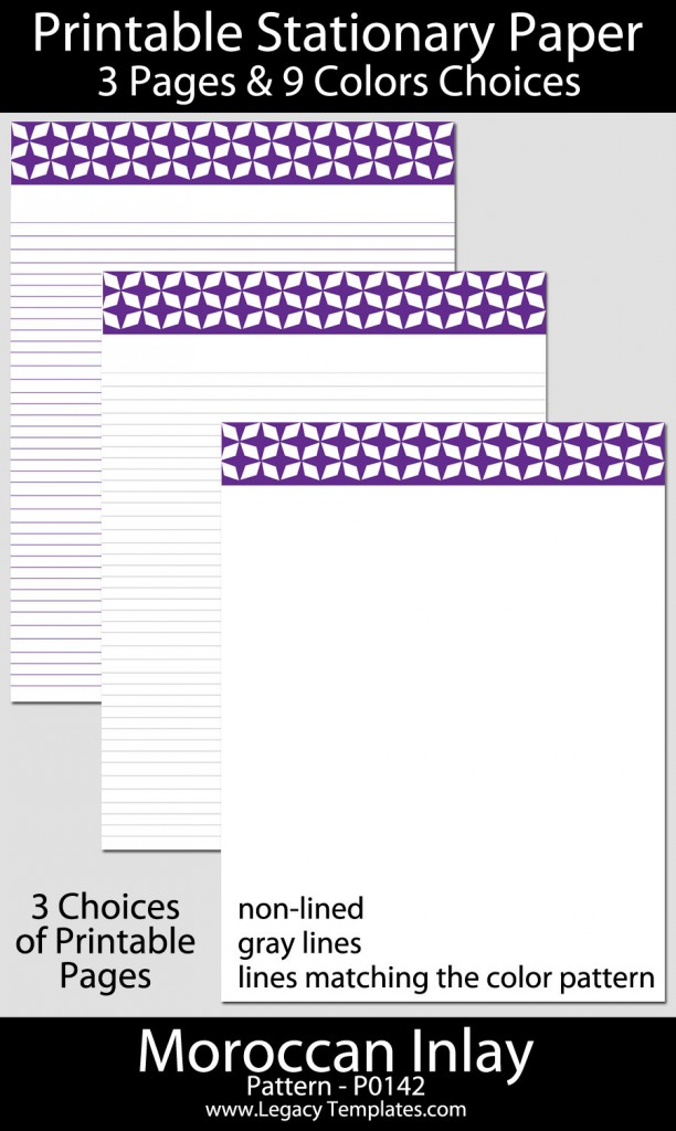 Printable Stationary Paper with a Moroccan Inlay Pattern ...