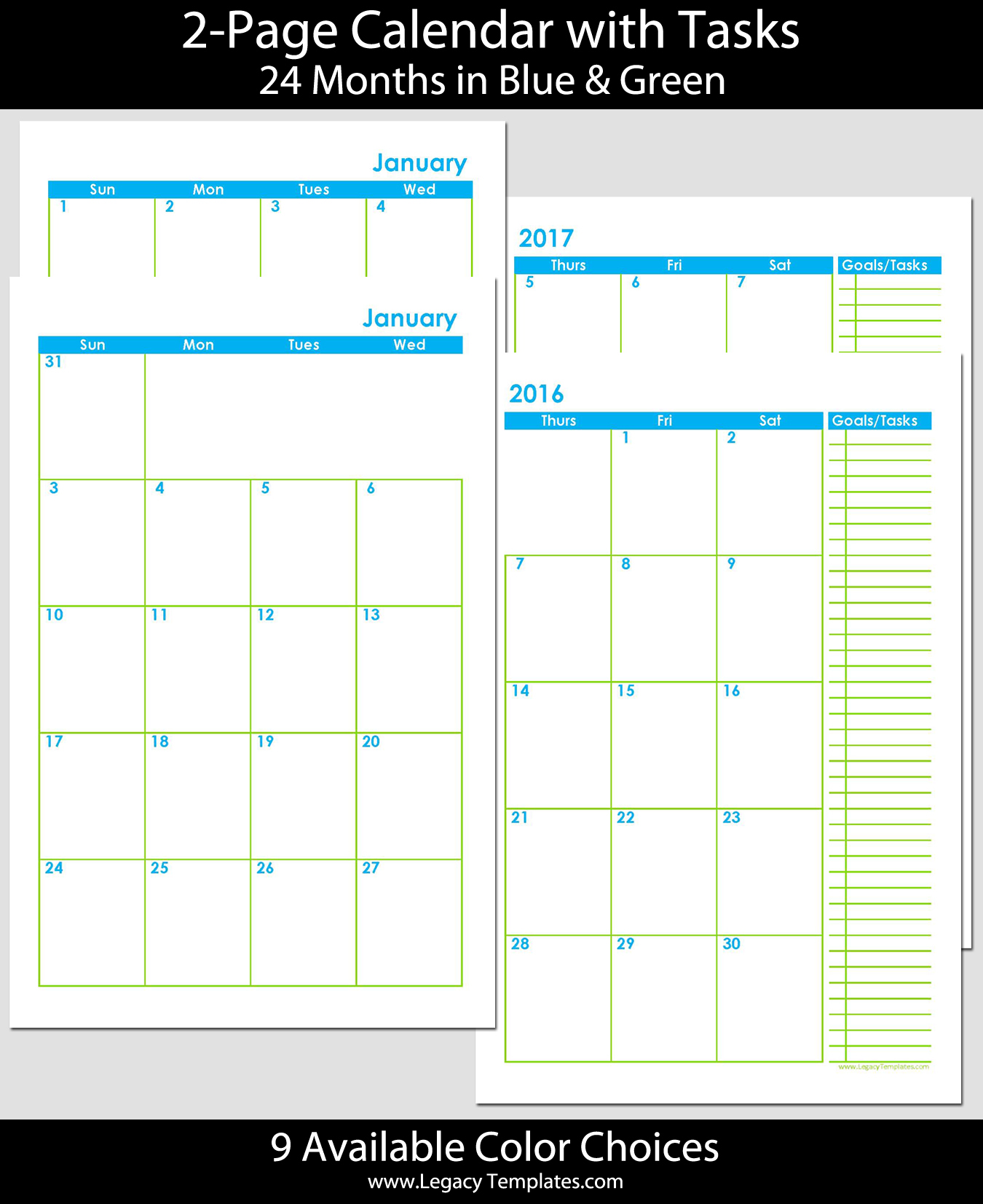 2016 2017 24 months 2 page calendar half size for 12 month planner template