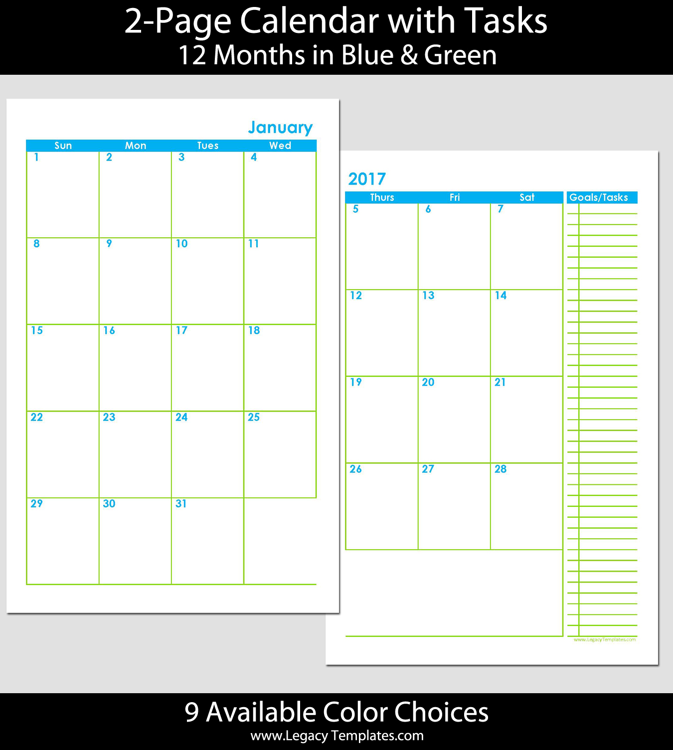 2015 12-month 2 page calendar