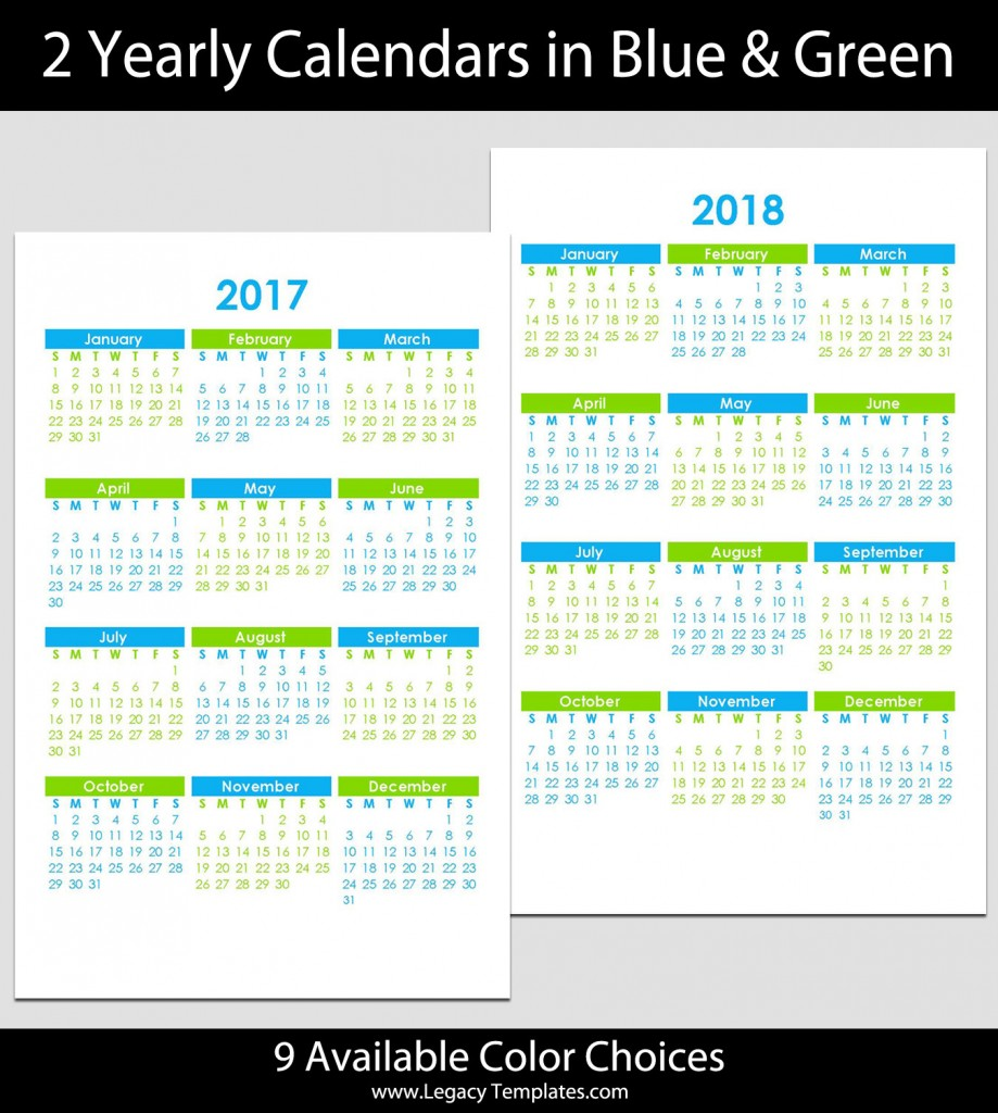 """... Products » Products » 2017 & 2018 Yearly Calendar - 5 1/2"""" x 8 1/2"""