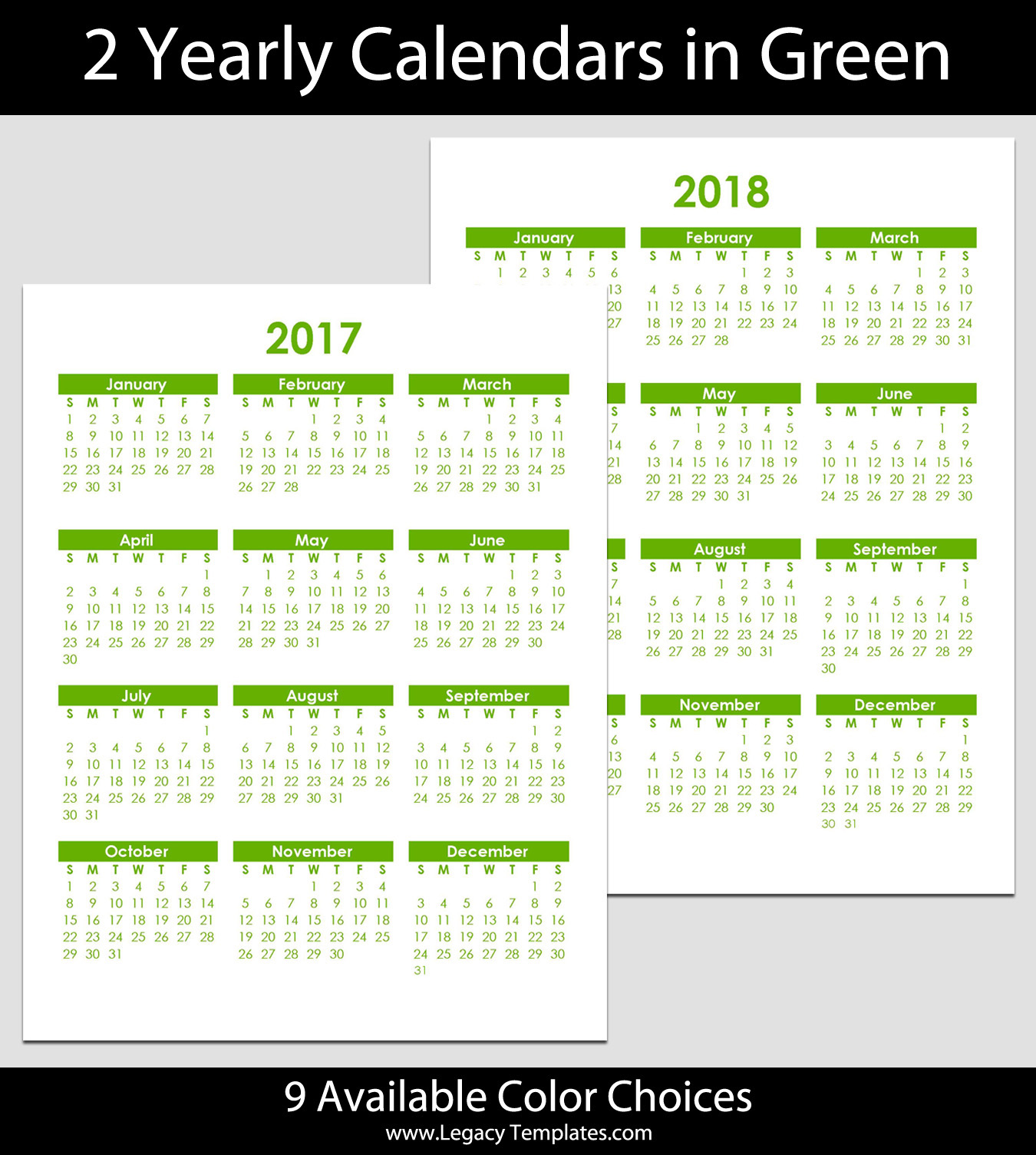 """2017 & 2018 Yearly Calendar - 8 1/2"""" x 11"""" 
