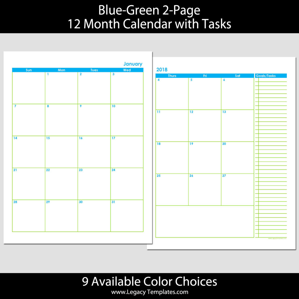 2018 12 month 2 page calendar 8 5 x 11 legacy templates for 12 month planner template