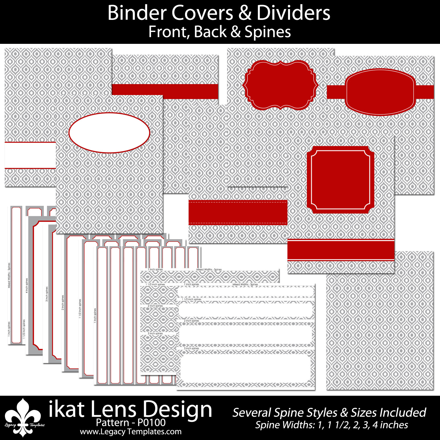 Gray Binder Cover With Colorful Labels & An Ikat Design
