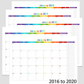 2016 to 2020 60-Month Landscape Calendar with Tasks – A5