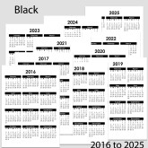 2016 to 2025 Yearly Calendar – A5