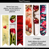 Red Flower Bookmarks – Set of 6 – PHY0006