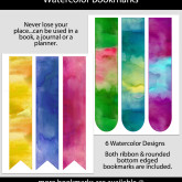 Watercolor Bookmarks – Set of 6 – MSC0002