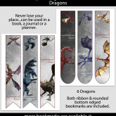 Dragon Bookmarks – Set of 6 – KD0001
