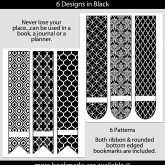 Black Patterned Bookmarks with Bar Label – Set of 6 – PT0001