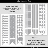 Gray Patterned Bookmarks with Bar Label – Set of 6 – PT0004