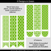 Green Patterned Bookmarks with Bar Label – Set of 6 – PT0001