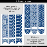 Navy Patterned Bookmarks with Bar Label – Set of 6 – PT0001