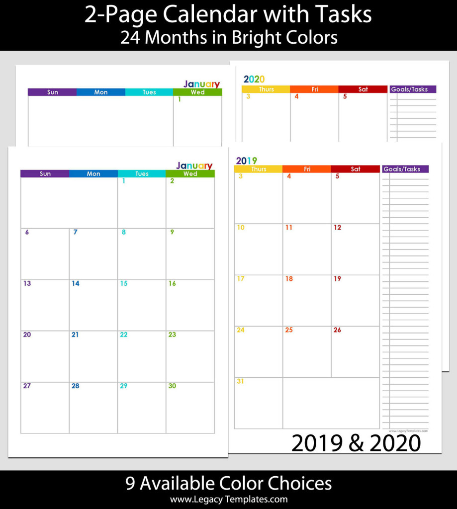2019 2020 24 months 2 page calendar a5 legacy templates for Two page monthly calendar template