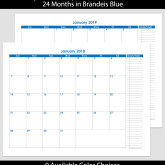 2018 & 2019 24-Month Landscape Calendar with Tasks – 8.5 x 11