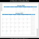 2019 & 2020 24-Month Landscape Calendar with Tasks – A4