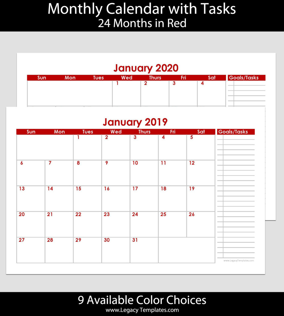 2019 & 2020 24-Month Landscape Calendar With Tasks