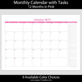 2019 12-Month Landscape Calendar with Tasks – A4