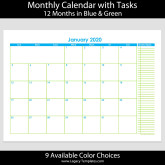 2020 12-Month Landscape Calendar with Tasks – A4