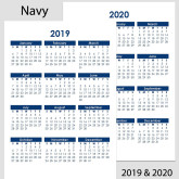 2019 & 2020 Yearly Calendar – A4