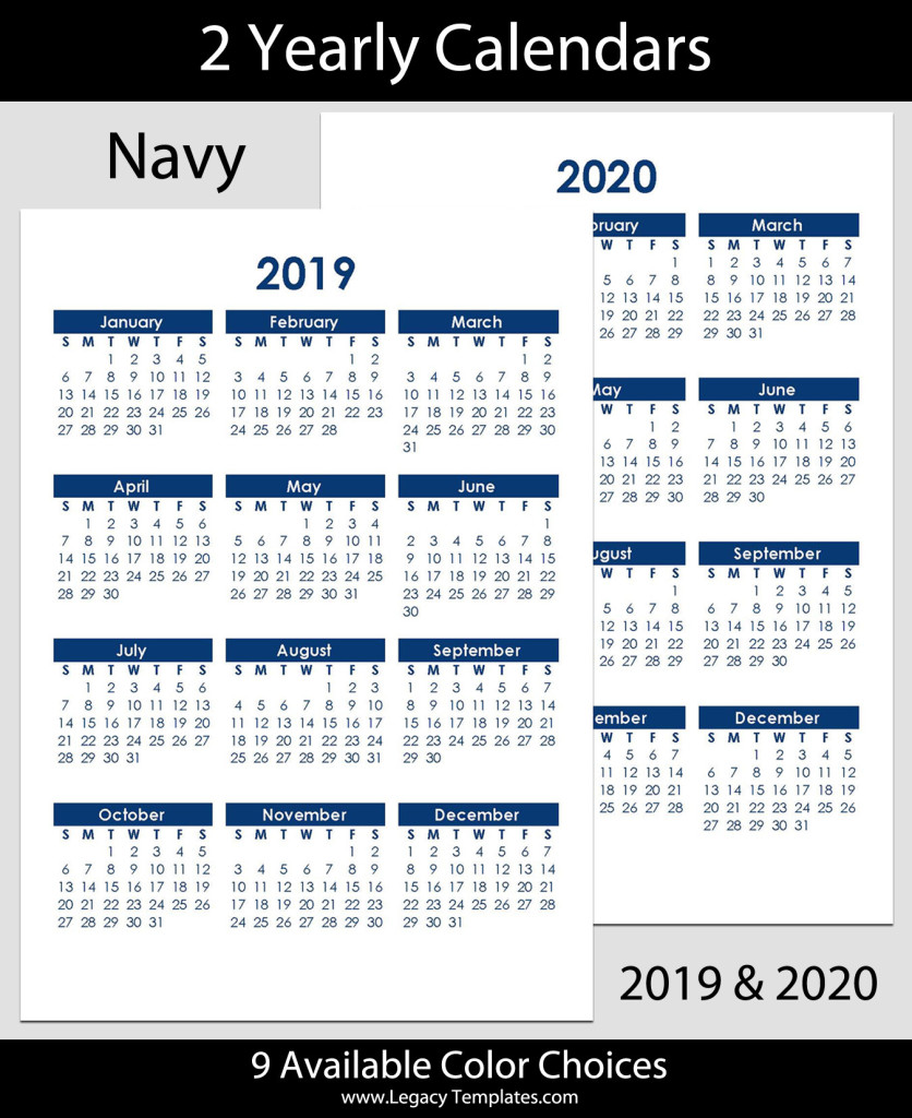 2019 2020 yearly calendar a4
