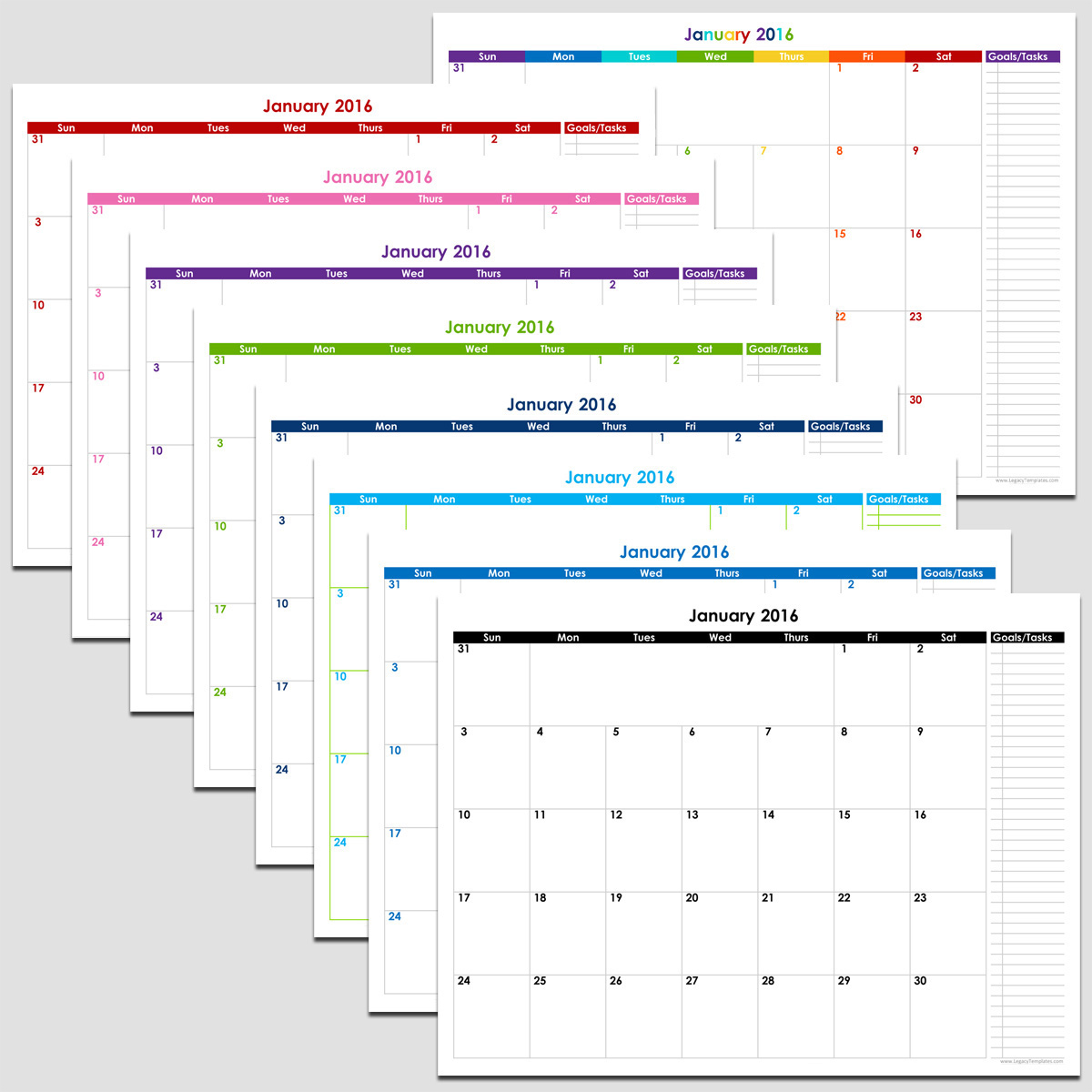 2016-2020 Monthly Calendar 2015 & 2020   72 Month Calendar with Tasks   8 1/2