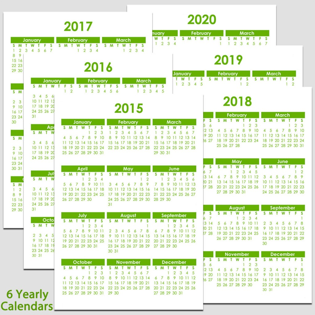 Calendar 2020 And 2016 Printable 2015 & 2020 Yearly Calendar   5 1/2