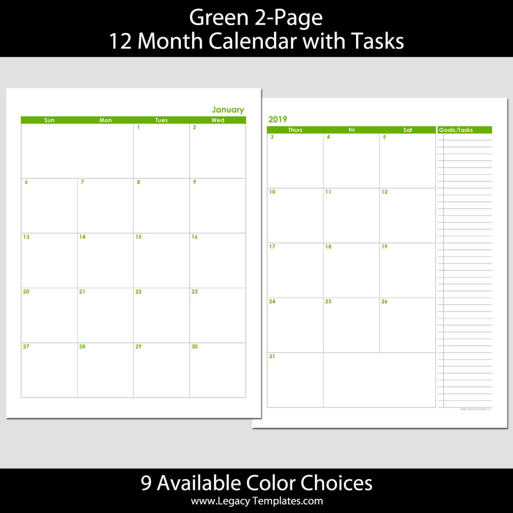 2019 12-Month 2-Page Calendar – 8.5 x 11 | Legacy Templates